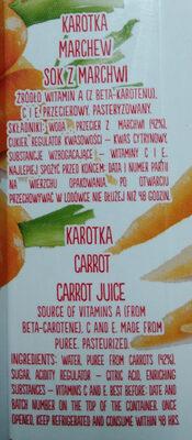 Sok z marchwi - Ingredients - pl