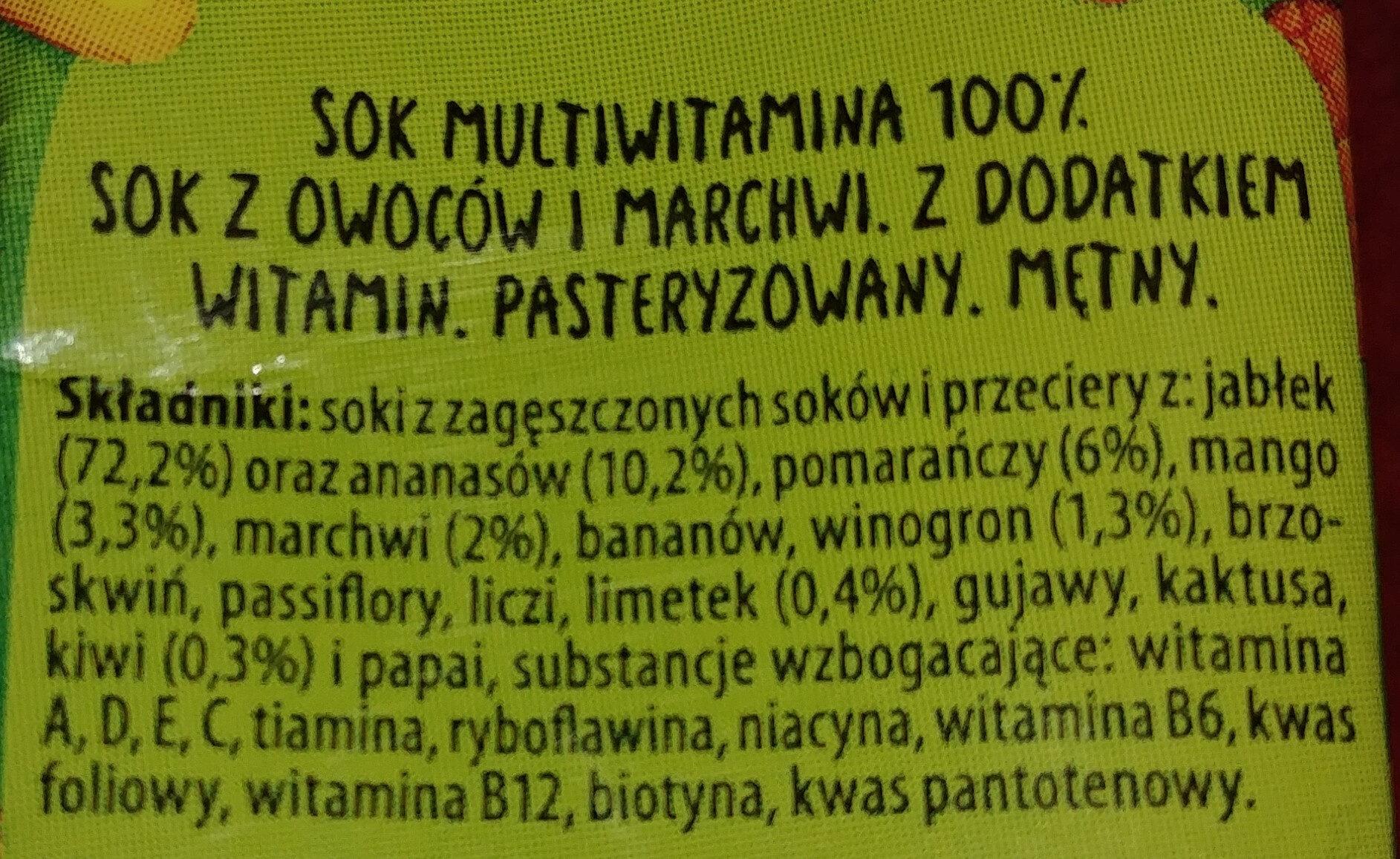 100% sok multiwitamina z dodatkiem witamin - Składniki - pl