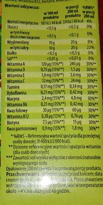 100% sok multiwitamina z dodatkiem witamin - Wartości odżywcze - pl