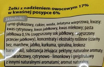 Żelki z nadzieniem owocowym w kwaśnej posypce - Składniki - pl