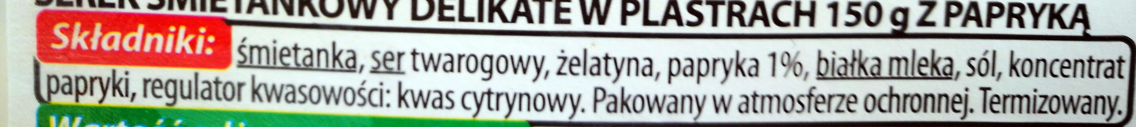 Serek śmietankowy w plastrach z papryką - Ingredients - pl