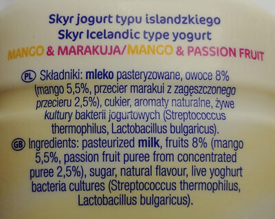 Skyr jogurt pitny typu islandzkiego - Składniki - pl