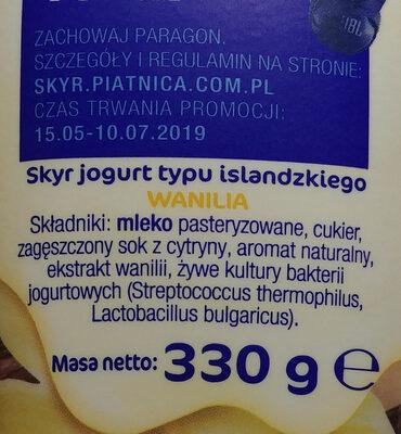 Skyr jogurt pitny typu islandzkiego. - Składniki - pl