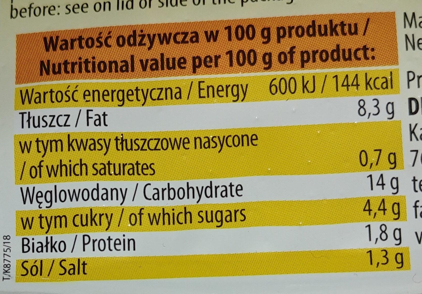 Sałatka warzywna z kukurydzą - Wartości odżywcze