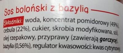 Sos Boloński z bazylią - Ingredients - pl