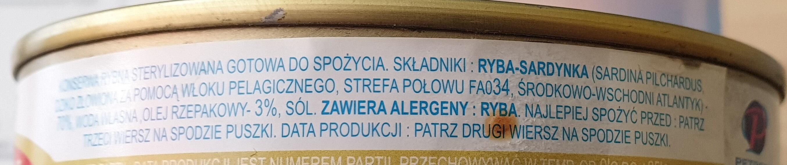 Sardynka w sosie własnym z dodatkiem oleju - Ingredients - pl