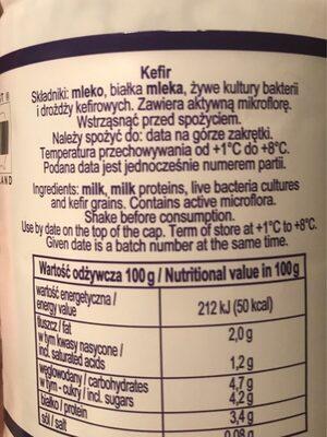 Kefir - Informations nutritionnelles - pl