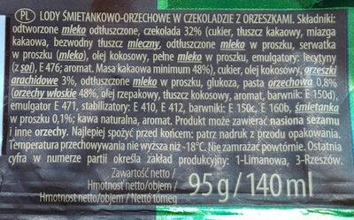 Lody śmietankowo-orzechowe w czekoladzie z orzeszkami. - Ingredients