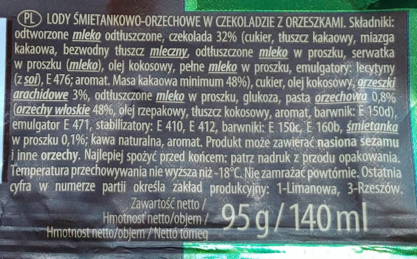 Lody śmietankowo-orzechowe w czekoladzie z orzeszkami. - Składniki - pl