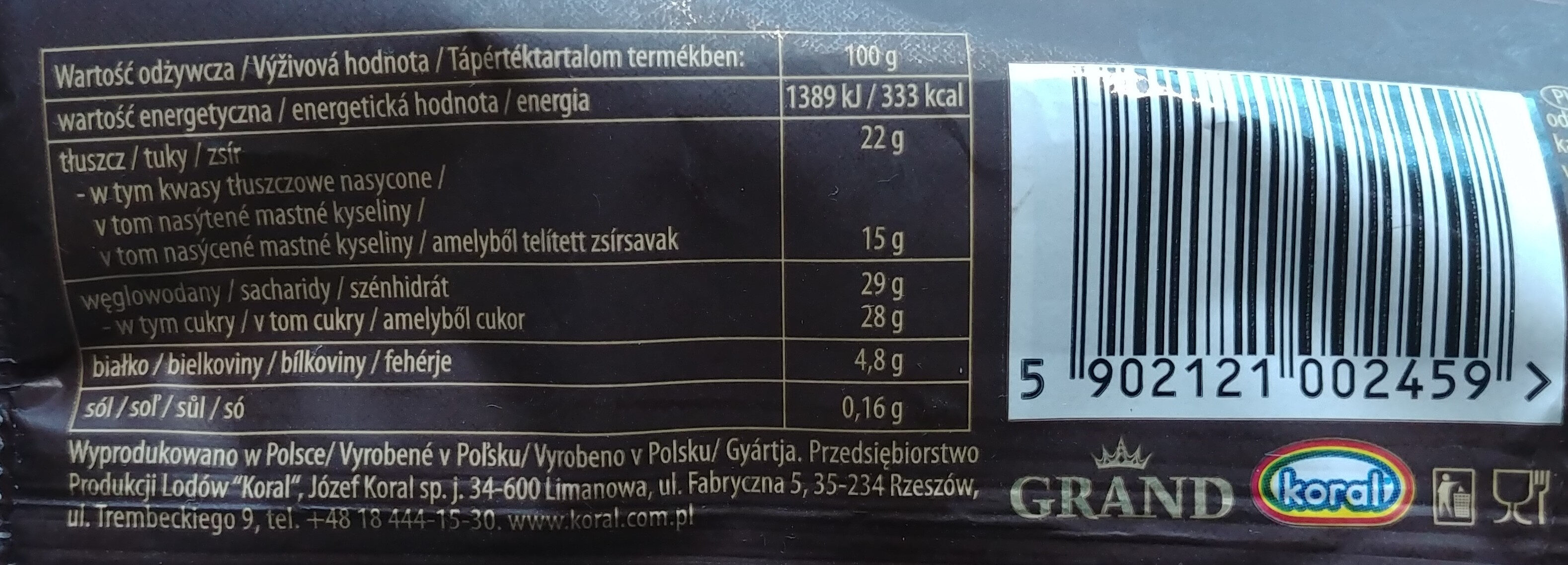Lody śmietankowo-orzechowe w czekoladzie z orzeszkami. - Nutrition facts