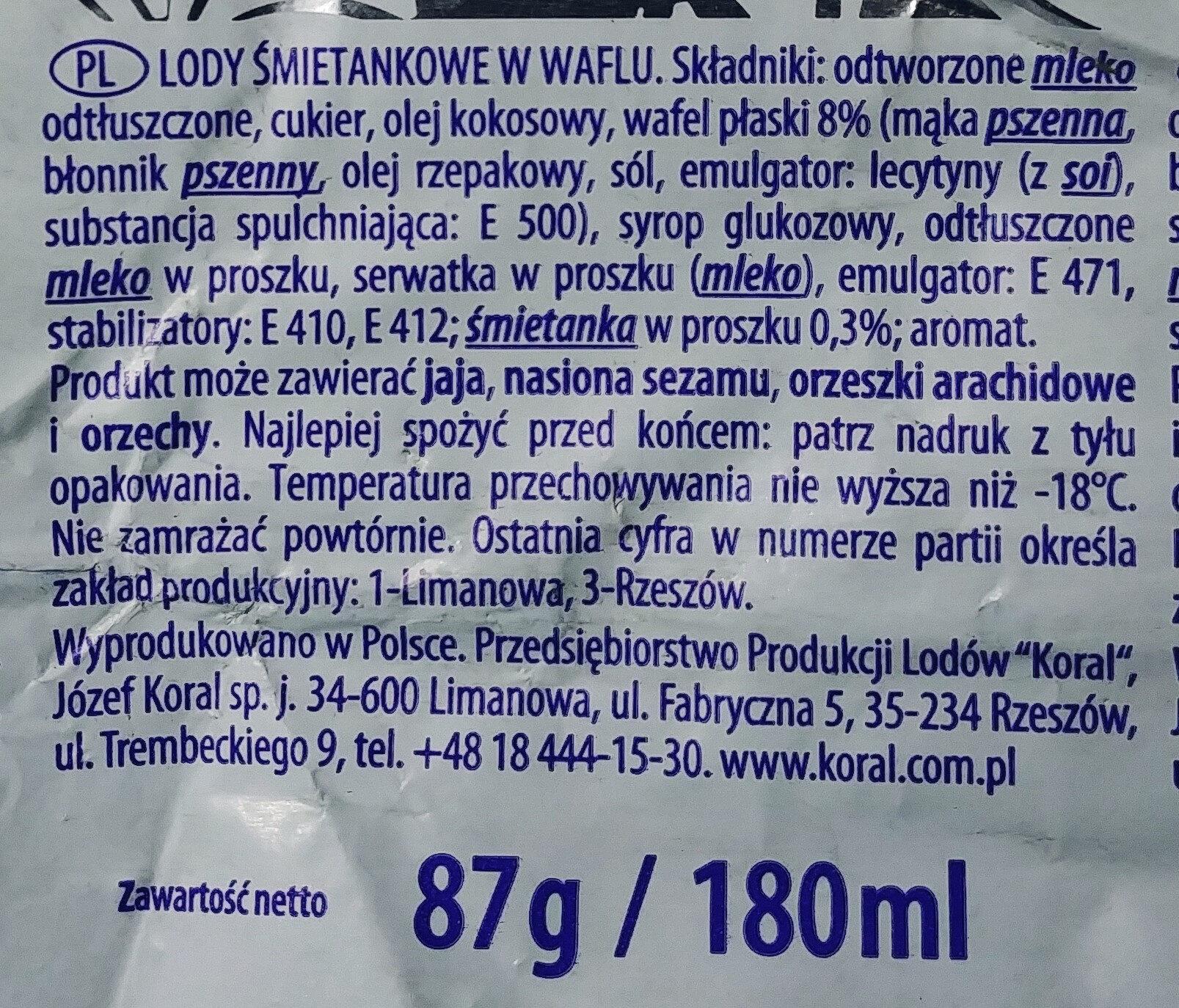 Lody śmietankowe - kostka śnieżna - Ingredients