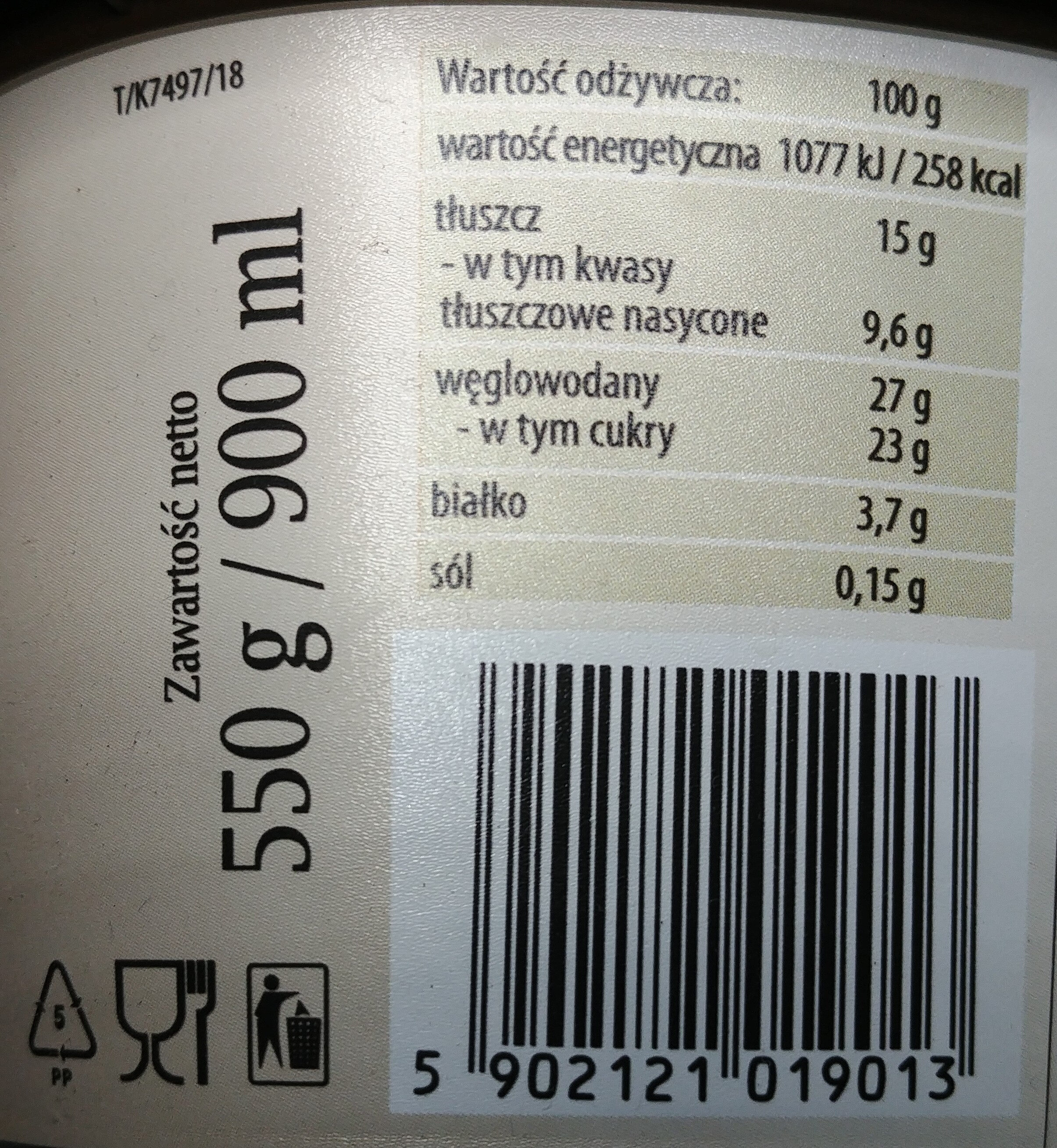 Lody bakaliowe (bakalie 8 %). - Wartości odżywcze