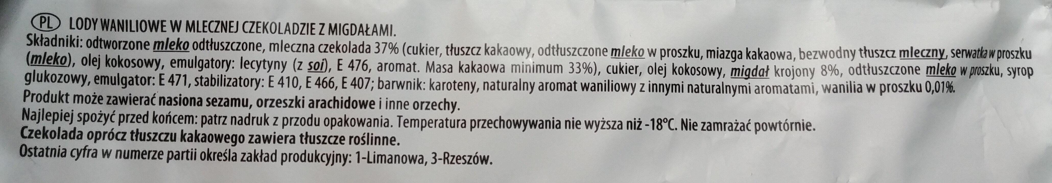 Lody waniliowe w mlecznej czekoladzie z migdałami - Składniki - pl