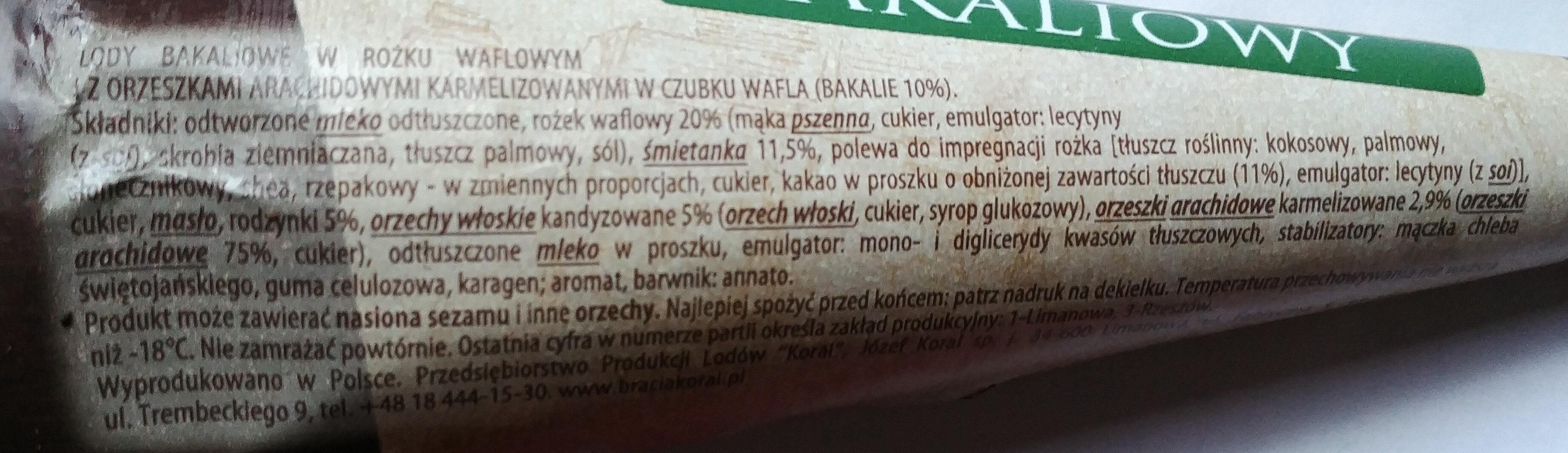 Lody bakaliowe w rożku waflowym i orzechami arachidowymi karmelizowanymi w czubku wafla - Składniki - pl