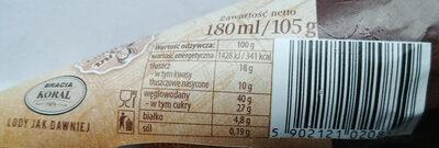 Lody bakaliowe w rożku waflowym i orzechami arachidowymi karmelizowanymi w czubku wafla - Wartości odżywcze - pl