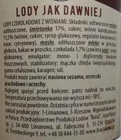Lody czekoladowe z wiśniami - Składniki - pl