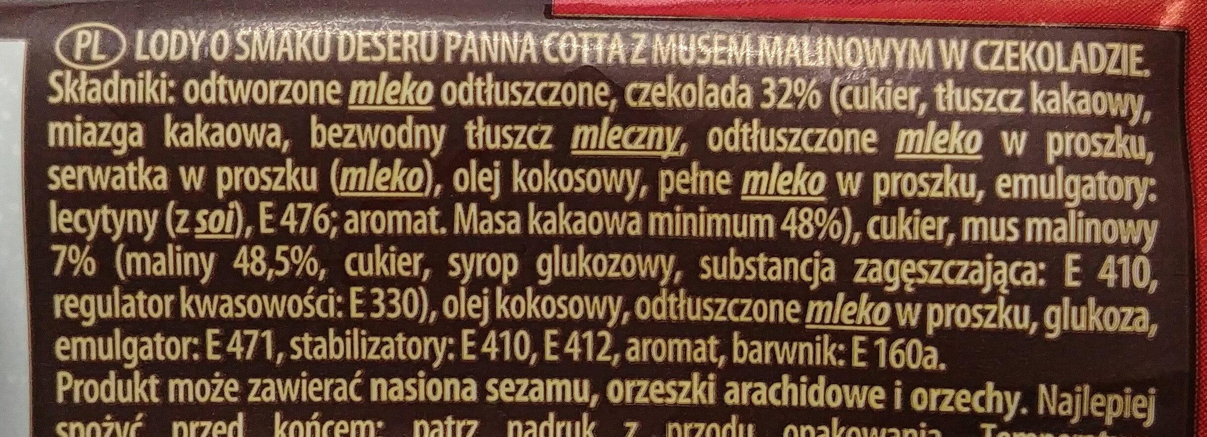 Lody o smaku deseru Panna Cotta z musem malinowym w czekoladzie - Składniki - pl