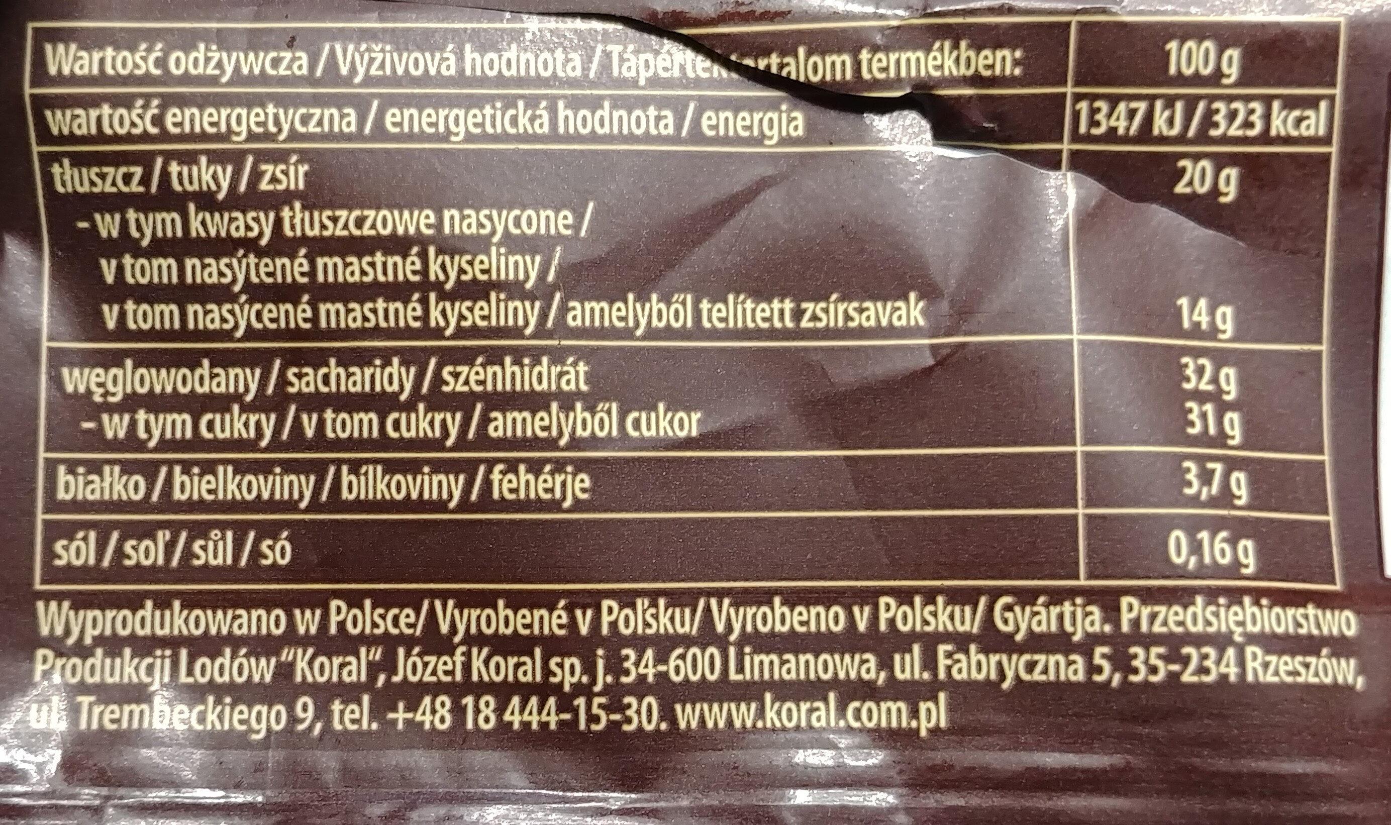 Lody o smaku deseru Panna Cotta z musem malinowym w czekoladzie - Wartości odżywcze - pl