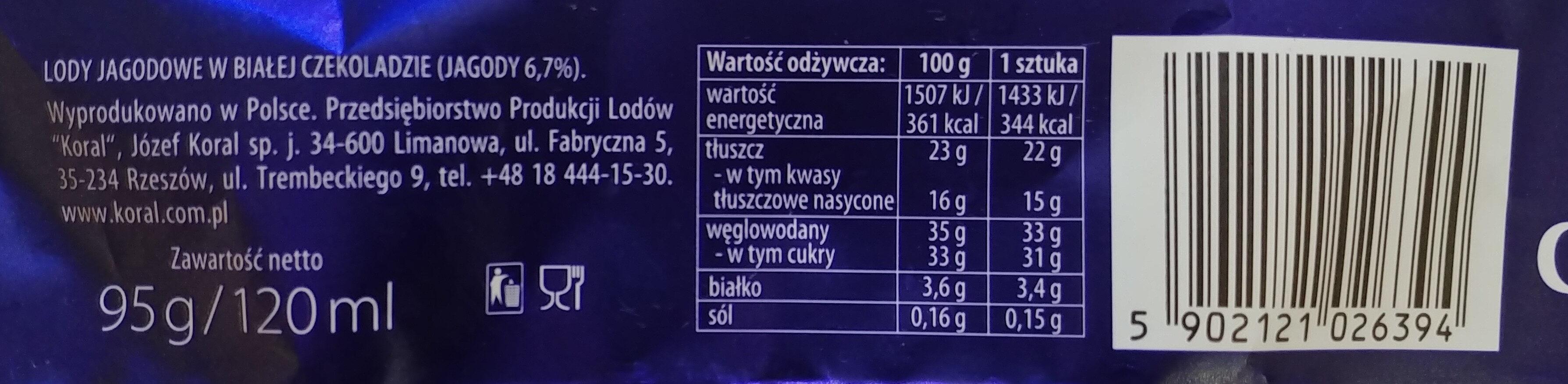 Lody jagodowe w białej czekoladzie. - Wartości odżywcze - pl
