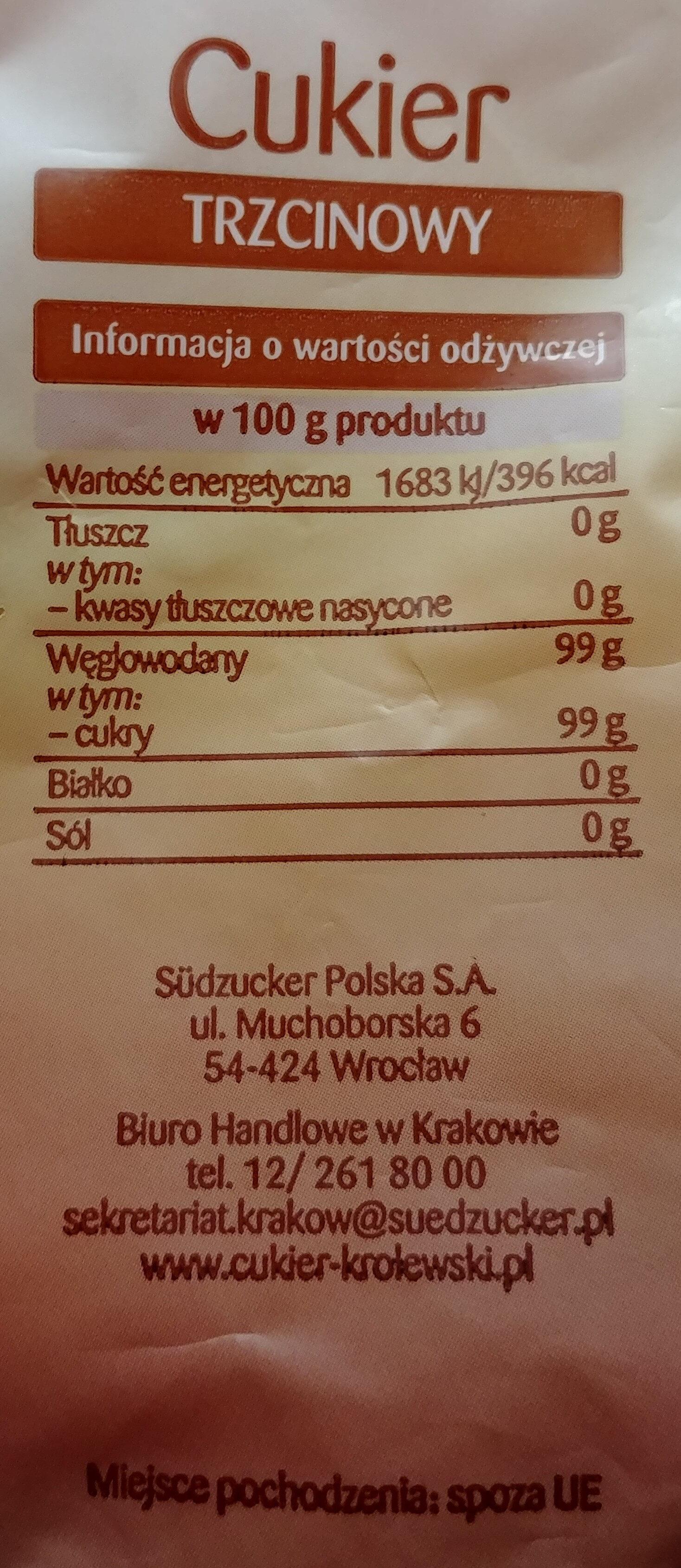 Cukier trzcinowy nierafinowany - Wartości odżywcze