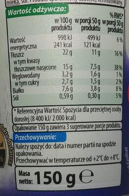 Serek twarogowy śmietankowy - Wartości odżywcze - pl