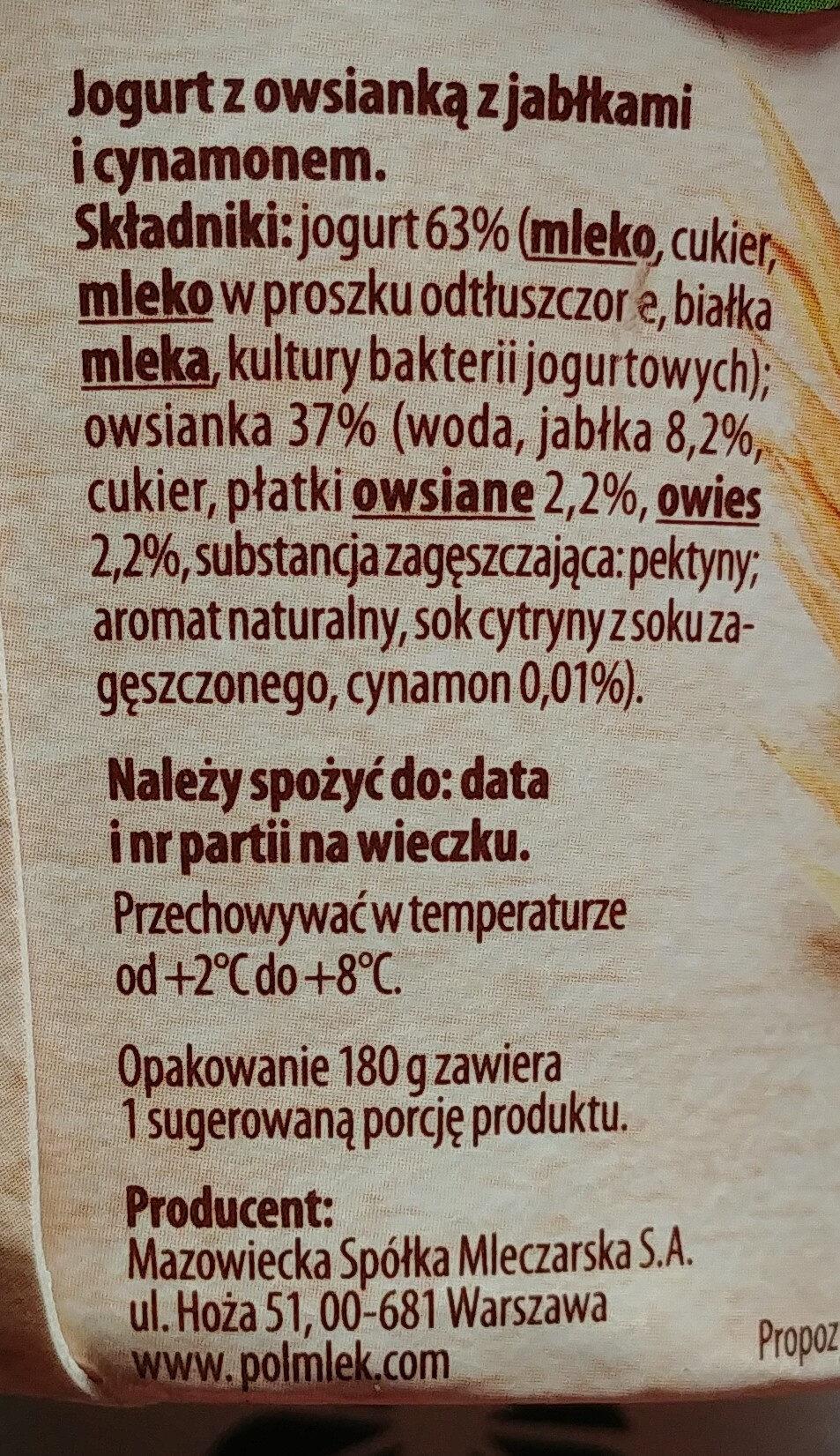 Jogurt z owsianką z jabłkami i cynamonem - Składniki - pl