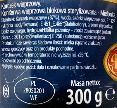 Karczek wieprzowy - Składniki - pl