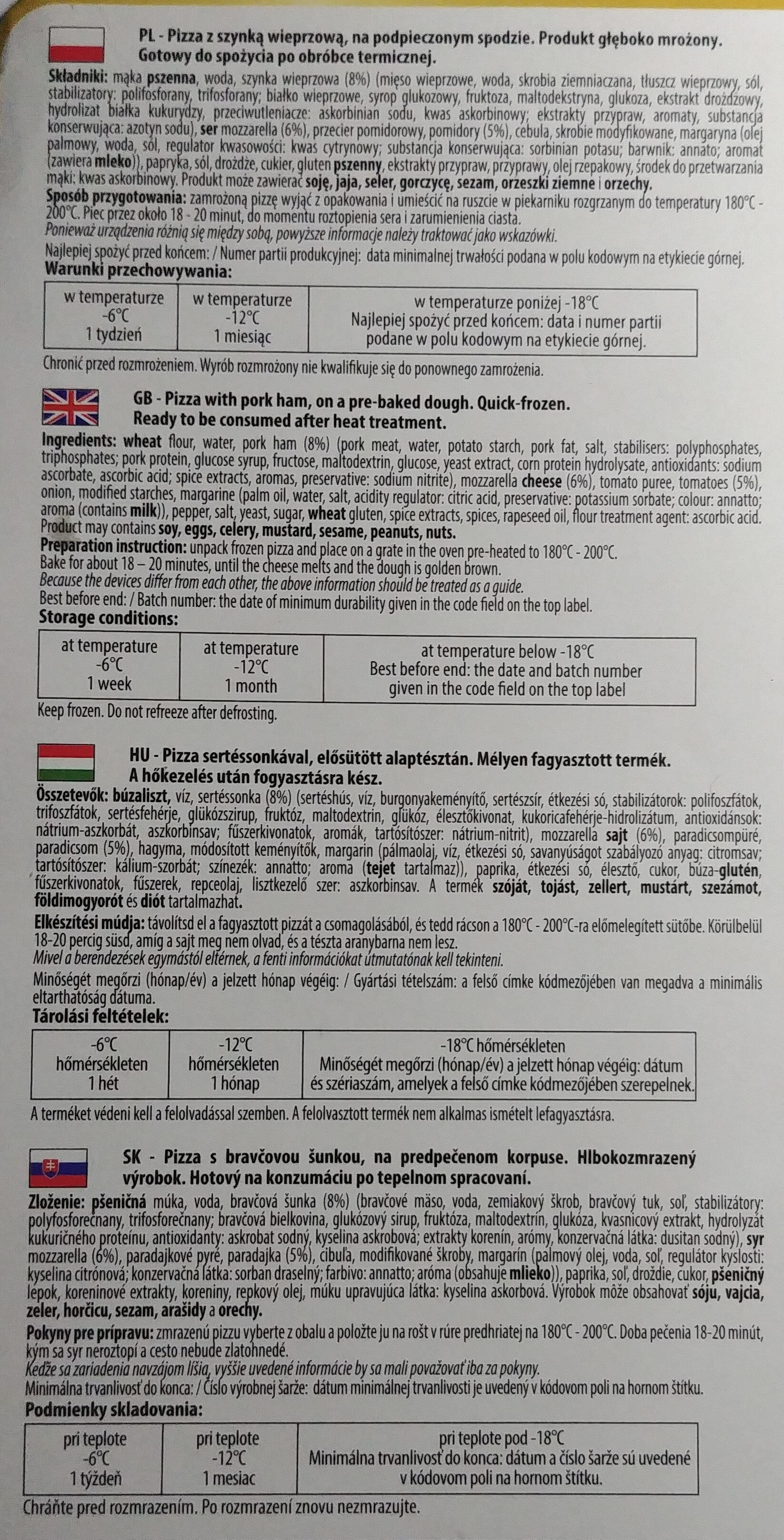 Pizza z szynką wieprzową, na podopiecznym spodzie. - Inhaltsstoffe - pl
