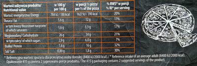 Pizza z pieczarkami na podpieczonym spodzie. Produkt głęboko mrożony. - Nutrition facts