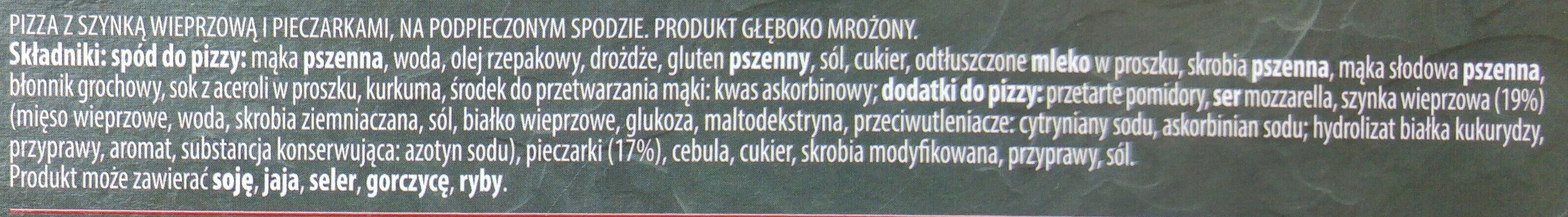 Pizza z szynką i pieczarkami - Ingrediënten - pl