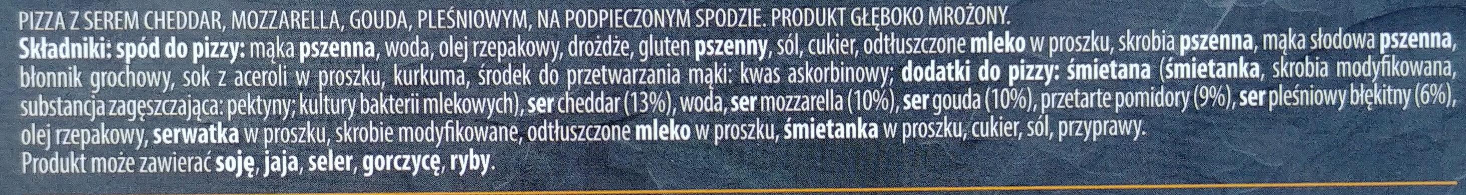 Pizza z serem cheddar, mozarella, gouda, pleśniowym, na podopiecznym spodzie. - Składniki - pl