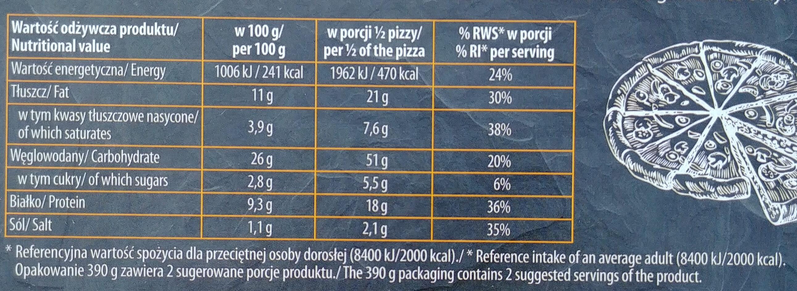 Pizza z serem cheddar, mozarella, gouda, pleśniowym, na podopiecznym spodzie. - Wartości odżywcze - pl