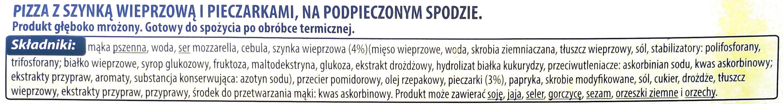 Pizza z szynką wieprzową i pieczarkami - Składniki - pl