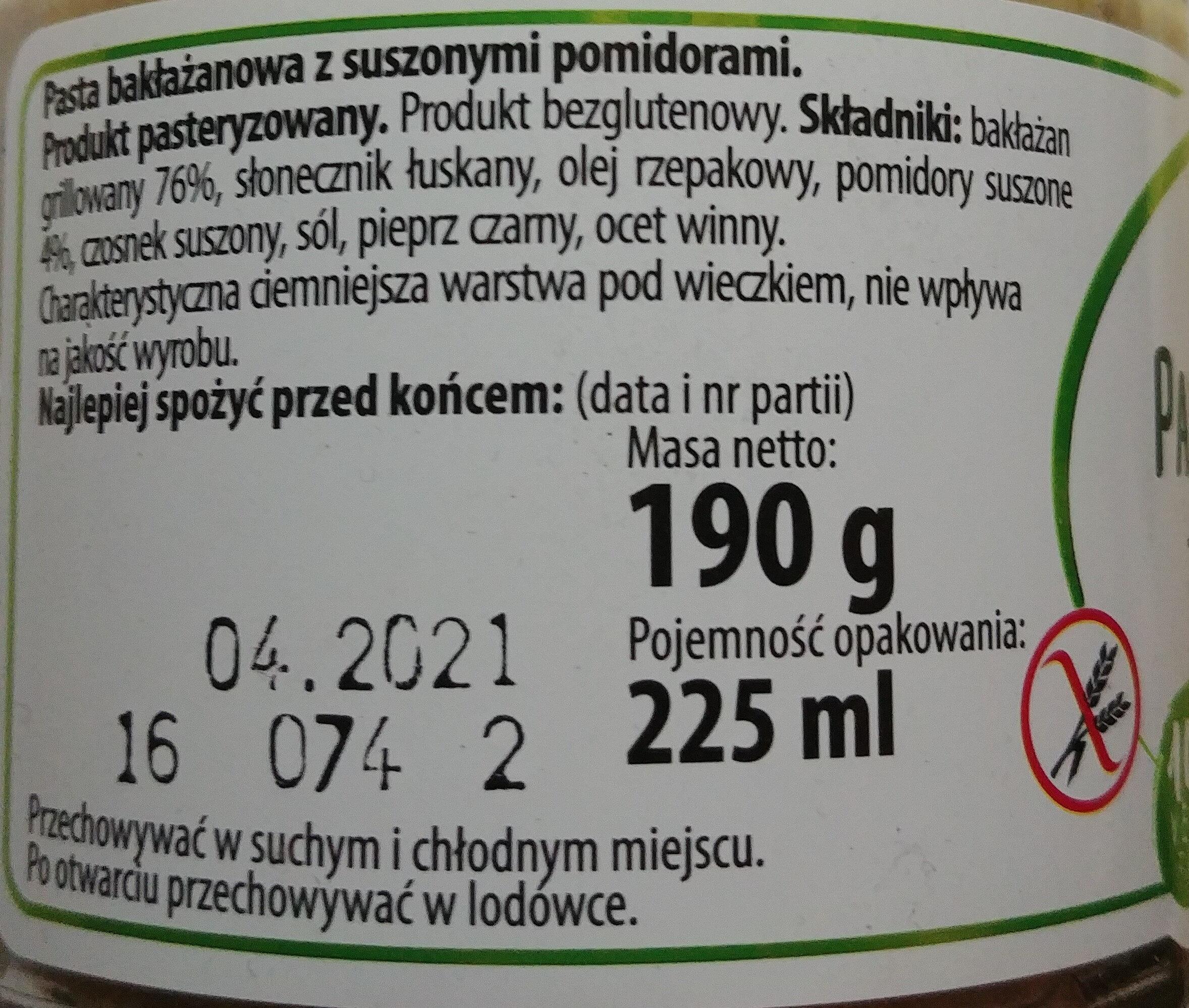 Pasta bakłażanowa z suszonymi pomidorami - Ingredients - pl