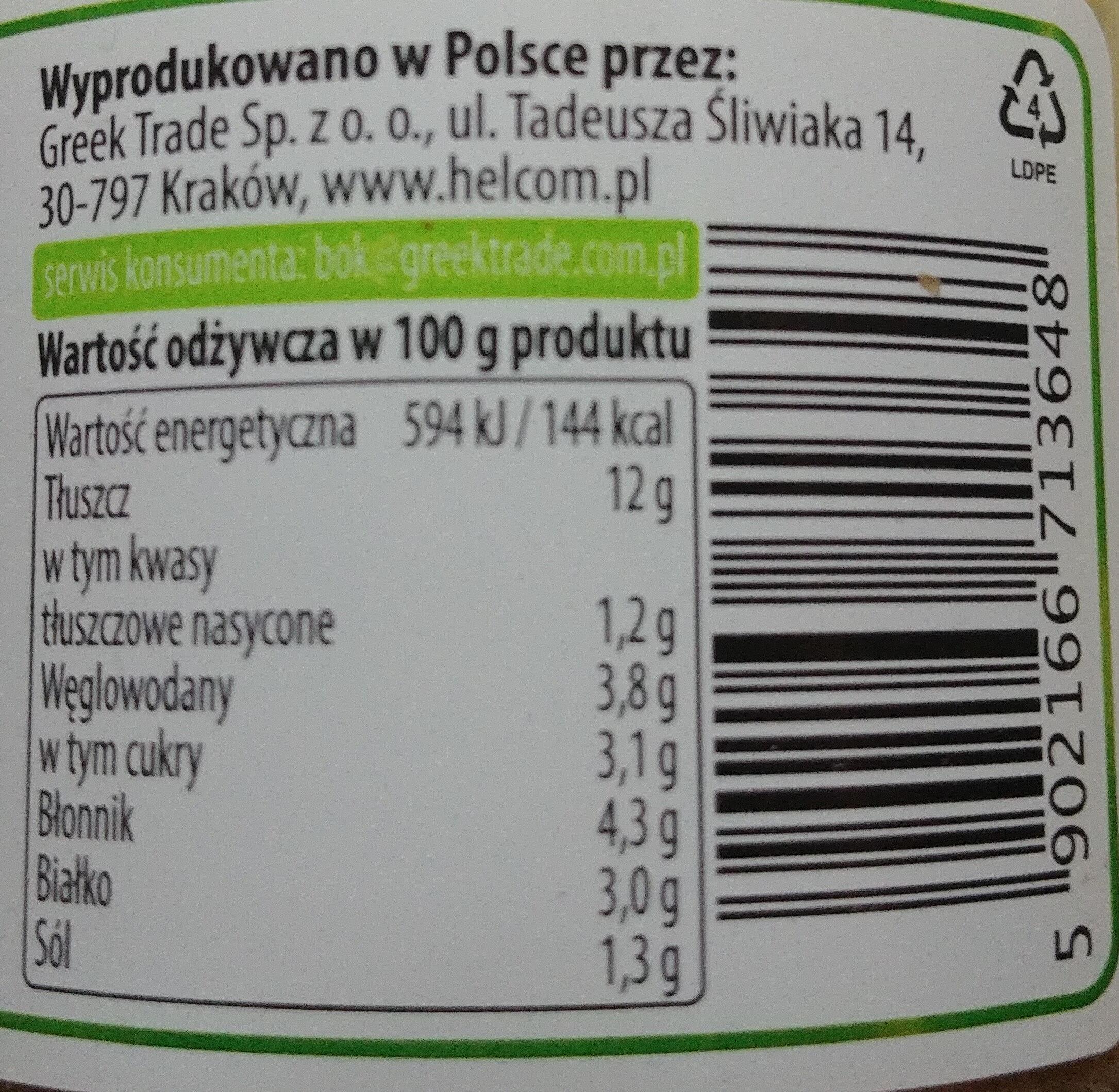 Pasta bakłażanowa z suszonymi pomidorami - Wartości odżywcze - pl