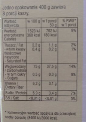 Kasza jęczmienna perłowa - Wartości odżywcze