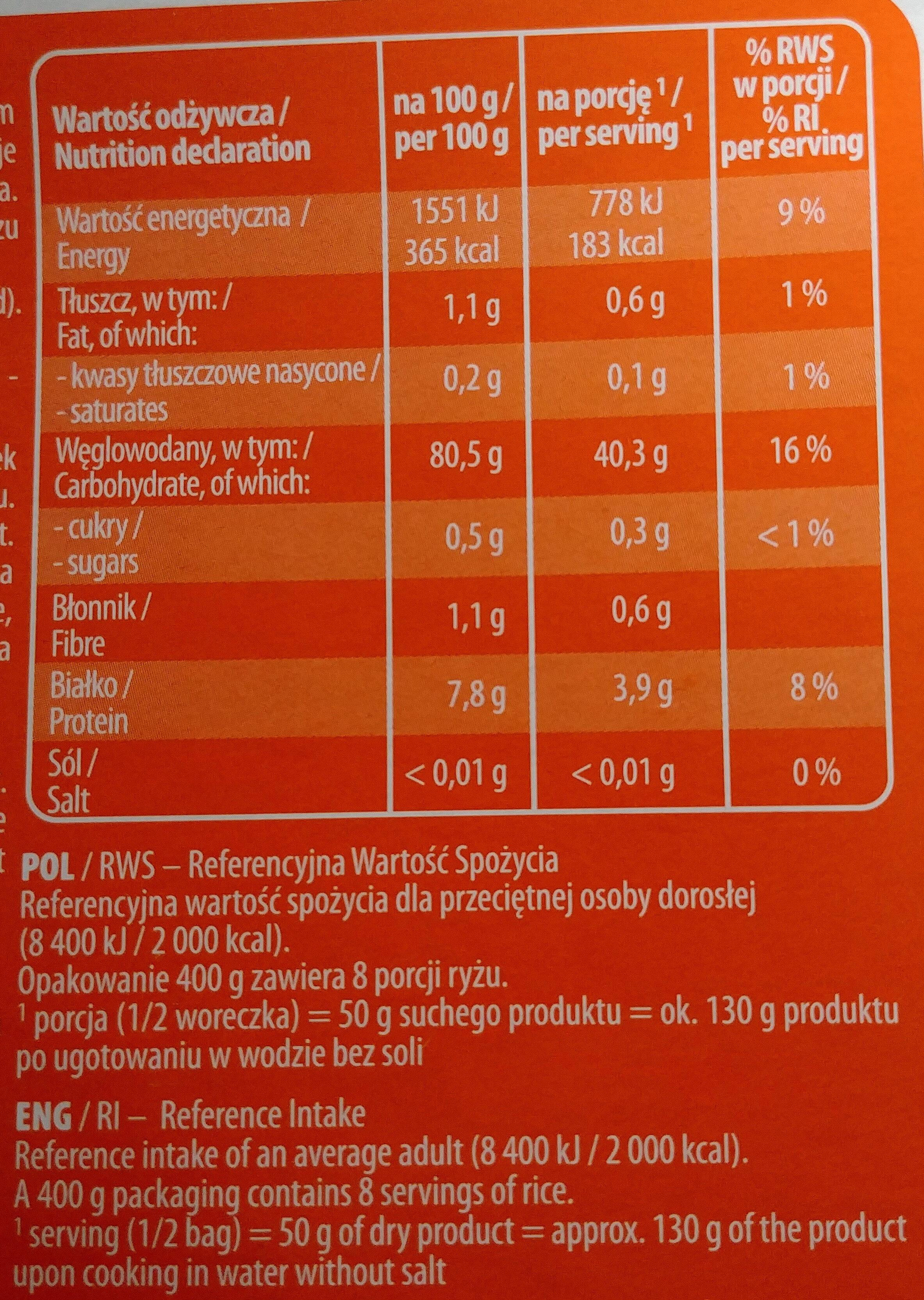 Ryż biały długoziarnisty Parboiled - Wartości odżywcze - pl