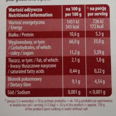 Kasza jęczmienna wiejska - Wartości odżywcze - pl