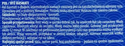 Ryż basmati - Składniki - pl