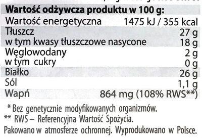 Ser Rycki Edam wędzony - Voedingswaarden