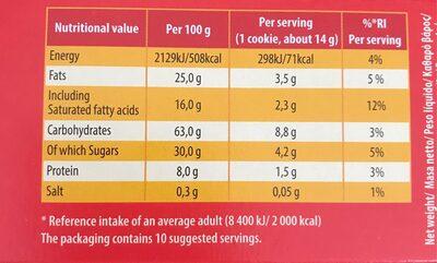 Cookies aux Pépites de Chocolat (avec de la Margarine) - Valori nutrizionali - fr
