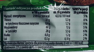 Ciastka kruche z kawałkami czekolady i orzeszkami laskowymi - Nutrition facts