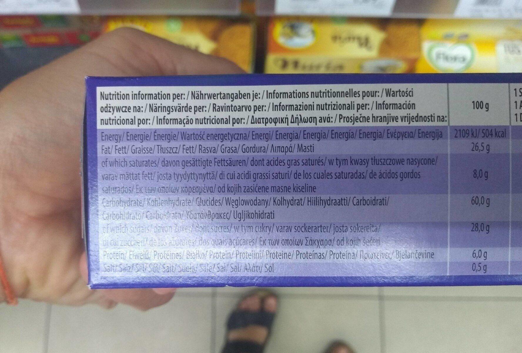 Original Cookies Chocolate Chip With Hazelnut - Wartości odżywcze - pl