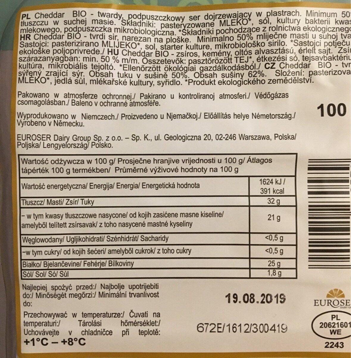 Bio Cheddar - Informations nutritionnelles - fr