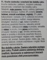 Kruche ciasteczka z orzechami bez dodatku cukru - Składniki - pl