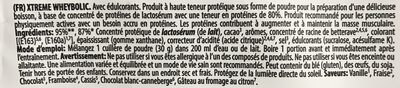 Xtreme WheyBolic - Ingrédients - fr