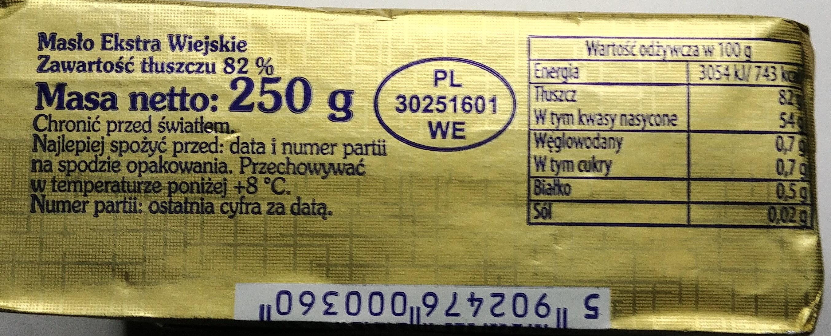 Masło ekstra wiejskie - Wartości odżywcze - pl