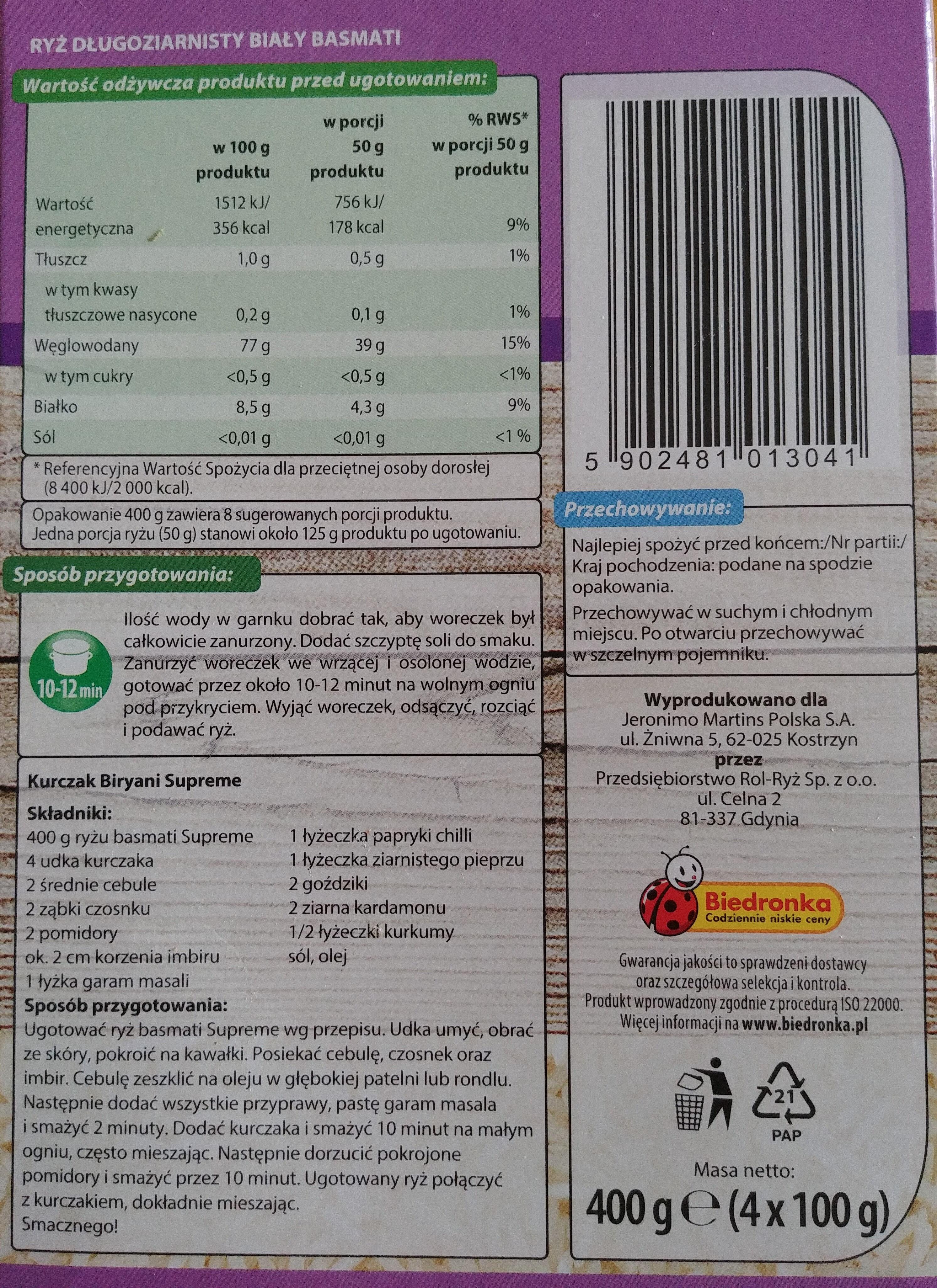 Ryż Basmati - Wartości odżywcze