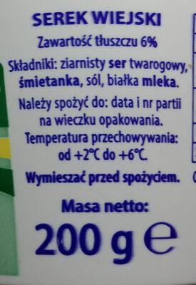 Serek wiejski - Składniki