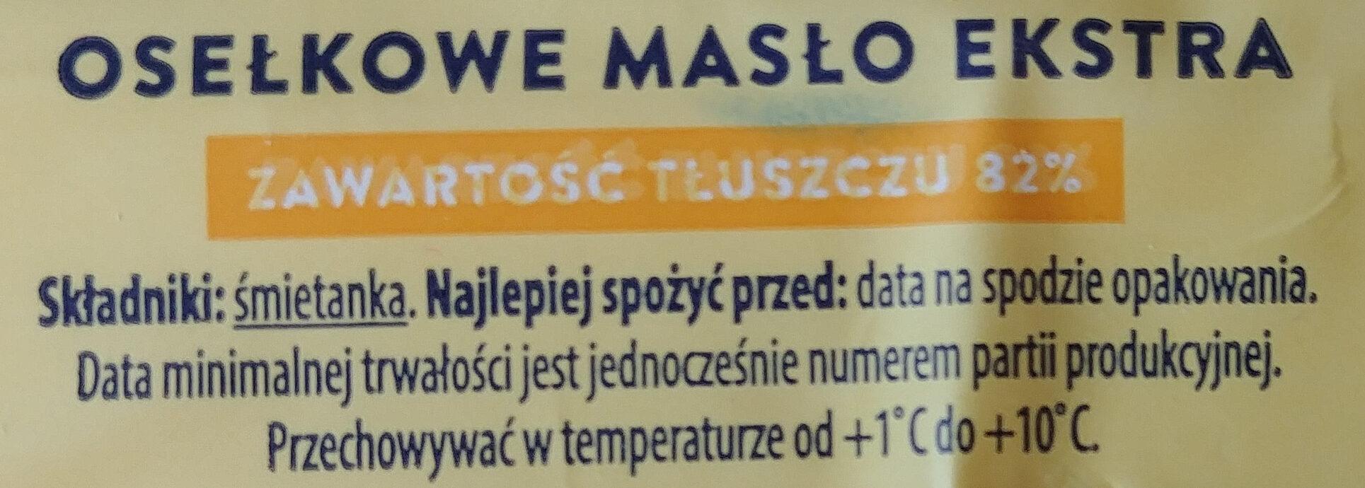 Masło osełkowe extra - Składniki - pl